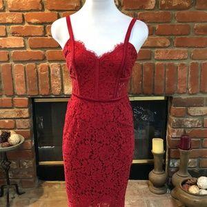 EXPRESS Red Lace Eyelet Sleeveless Dress s…